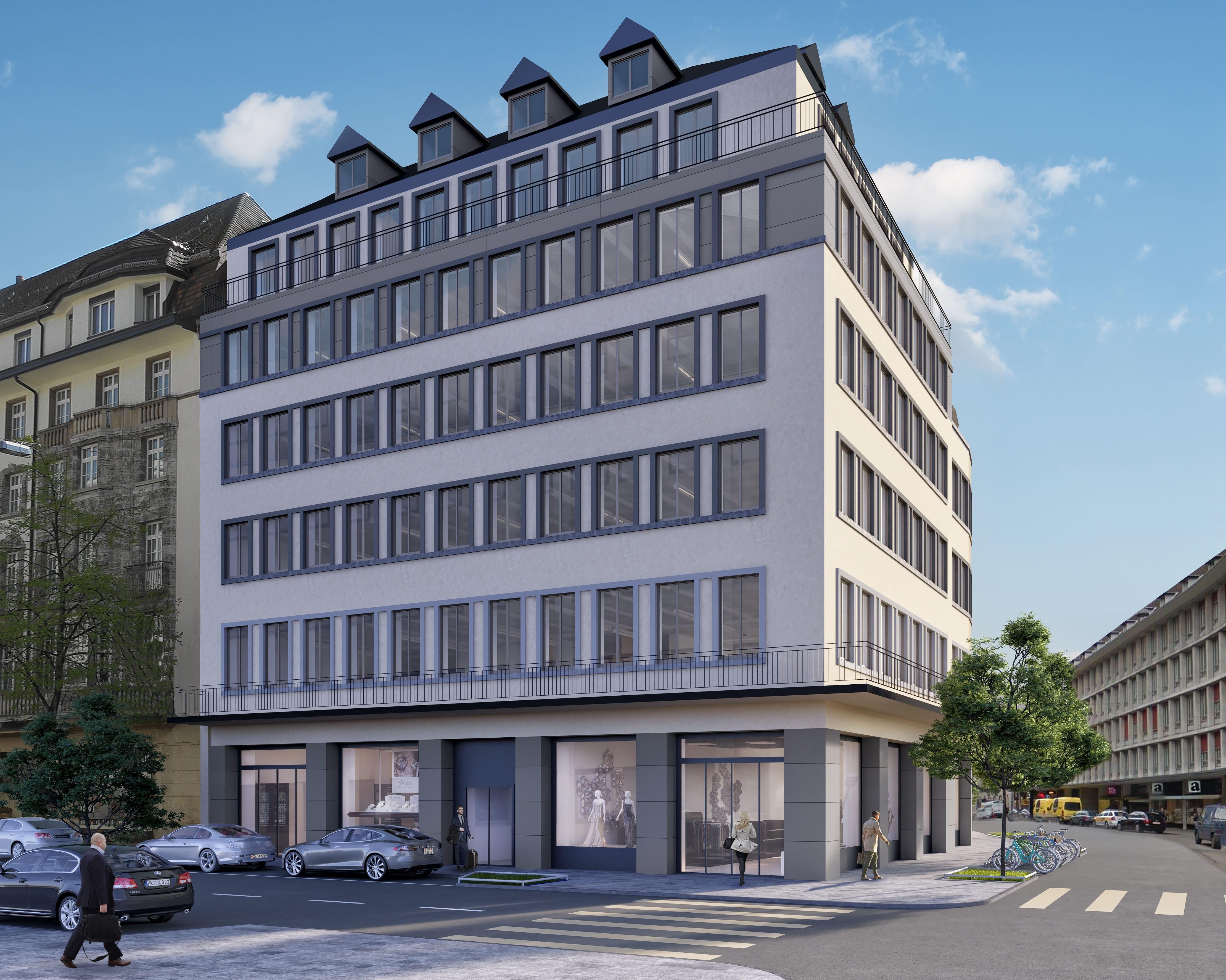 Architekturvisualisierung, Gewerbebau, Bürogebäude, Gewerbehaus, Bürohaus, Zürich
