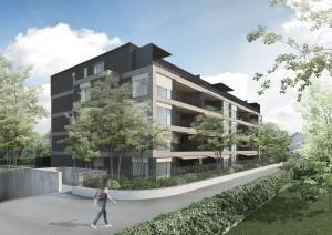 3D Visualisierung, Siedlung, Haus, Wohnungen, Mehrfamilienhaus. Gebäude