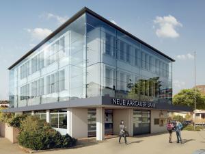 Architekturvisualisierung, Rendering, Gewerbebau, Bürogebäude, Gewerbehaus, Bank