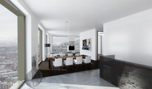 Architekturvisualisierung Wohnung - Hochhaus Mobimo Zürich