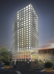 3D Architektur Rendering, Gewerbebau, Hotel, Gewerbehaus, Wohnungen, Hochhaus