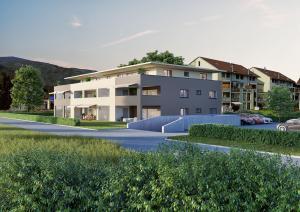 Architekturvisualisierung MFH mit Garten in Härkingen