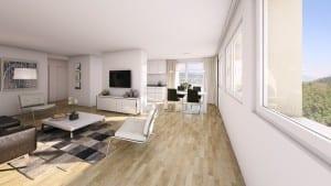 Architekturvisualisierung Innenbild Wohnung - MFH in Horgen