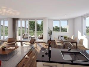 Architekturvisualisierung Innenbild Wohnung mit Küche - MFH in Islikon