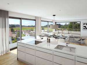 3D Rendering Wohnzimmer mit Terrasse - MFH in Lindau