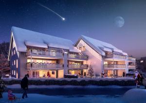 Architekturvisualisierung, Rendering, Immobilien, Mehrfamilienhaus, Nacht, Weihnacht