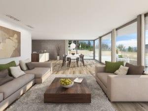 Visualisierungen Wohnzimmer - Mehrfamilienhaus in Meilen