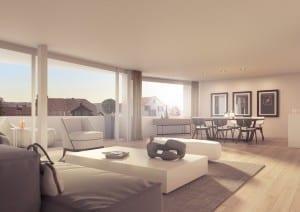 Visualisierung Wohnzimmer mit Balkon in Meilen