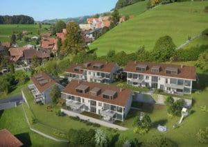 3D Visualisierungen, Vogelperspektive, Immobilien, Mehrfamilienhaus