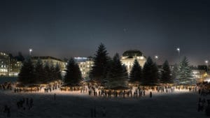 3D Visualisierung Weihnachtsmarkt Bellevueplatz Zürich