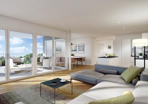 3D Rendering Wohnzimmer mit Terrasse