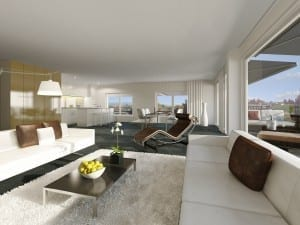 Architekturvisualisierung, Rendering Wohnzimmer