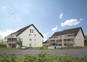 Architekturvisualisierung, Siedlung, Häuser, Wohnungen, Mehrfamilienhaus