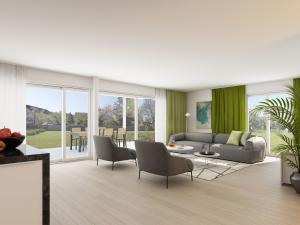 3D Rendering Wohnzimmer - MFH in Maur