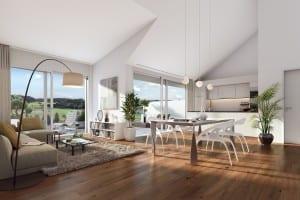 Visualisierung Wohnzimmer Küche Wohnung
