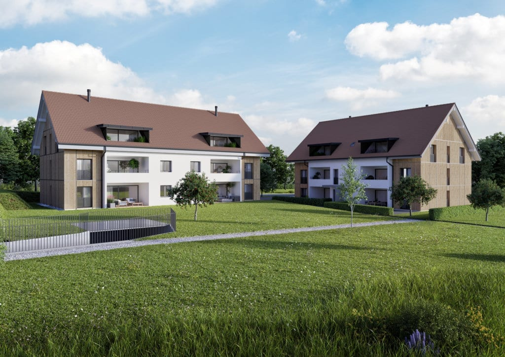 Visualisierung Neubau 2x MFH Gerzensee