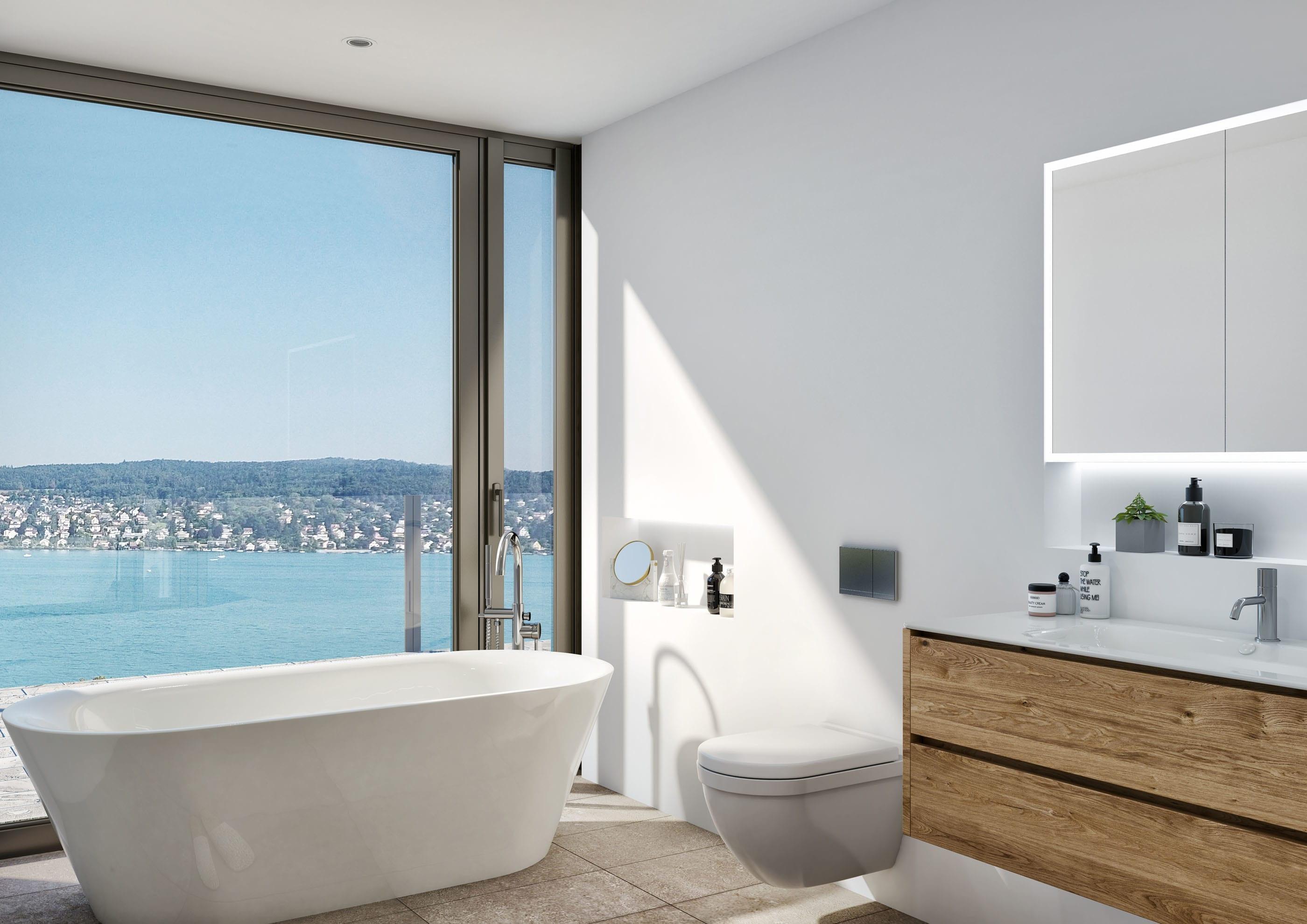 3D Visualisierung modernes Badezimmer mit Zürich Seesicht