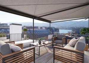 Architektur Visualisierungen Immobilien Terrassenansicht Mehrfamilienhaus Zürich