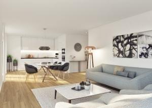 3D Visualisierungen Wohnzimmer Küche Innenraum