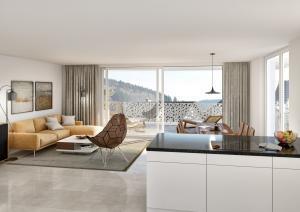 3D Visualisierungen Wohnzimmer und Küche - MFH Busswil