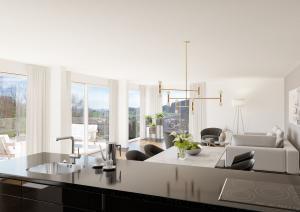 3D-Visualisierung Wohnzimmer Modern - MFH in Balterswil