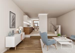 Architektur Visualisierungen, Innenraum Wohnung, MFH in Maur