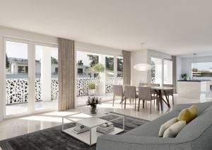 Architekturvisualisierung Wohnzimmer MFH