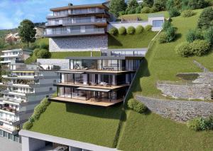 Architekturvisualisierung Terrassenhäuser in Ennetbürgen
