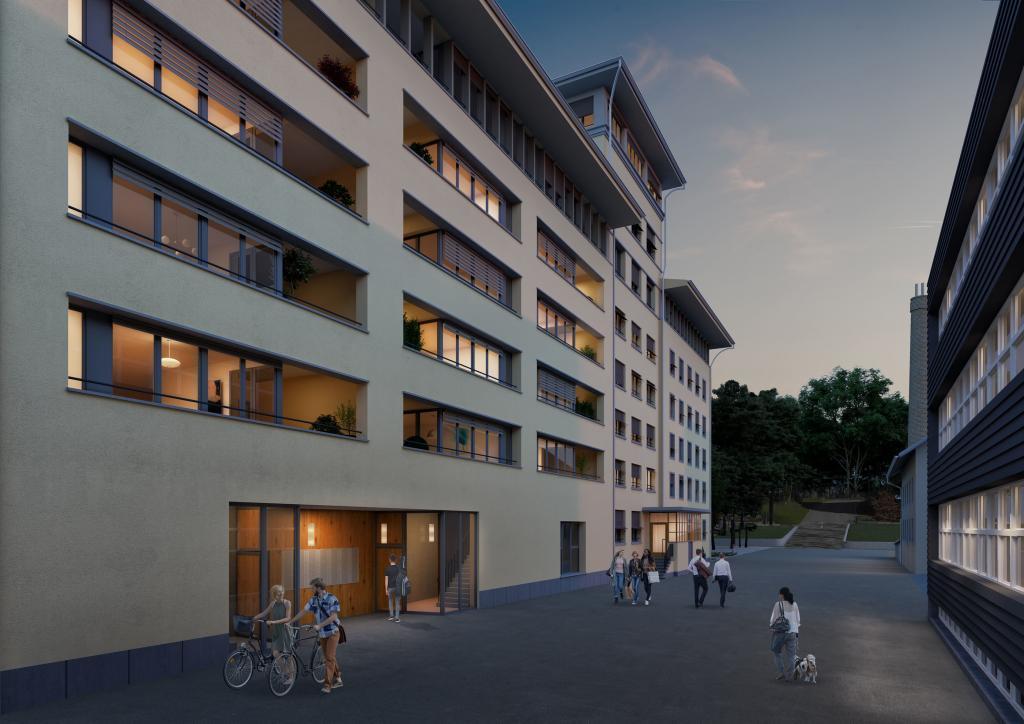Visualisierung im Abendlicht für saniertes Gebäude