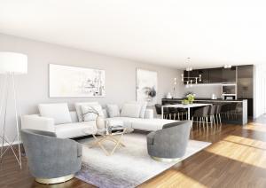 Visualisierungen, Wohnzimmer Modern, MFH in Balterswil