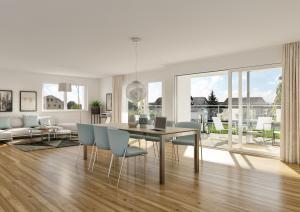 3D-Visualisierung Innenraum modernes Wohnzimmer Parkettboden Whg Schongau