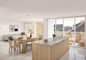 3D-Visualisierung Wohnung mit Bodenplatten - MFH Naenikon