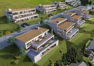 3D-Visualisierungen VogelperspektiveTerrassenhäuser Udligenswil