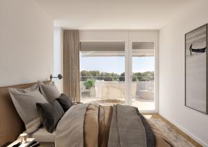 3D Rendering, Visualisierung Innenraum Schlafzimmer, Neubau MFH in Boll