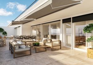 Architektur-Visualisierungen Terrassenansicht mit Gartenmöbel MFH Boll
