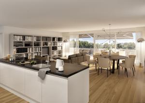 Architekturvisualisierungen Wohnzimmer mit Kücheinsel MFH Boll