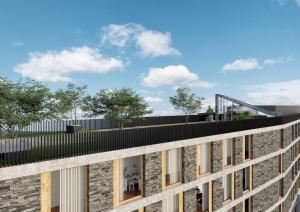 Dachterrasse mit Bepflanzungen 3D-Visualisierung Neubau Gebauede Kloten