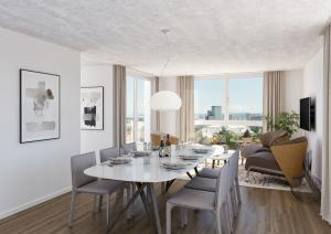 Visualisierungen Kueche Wohnzimmer mit Ausblick Zuerich-Oerlikon