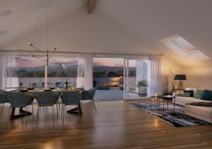 Visualisierung mit Abendlicht Dachgeschoss Wohnung Immobilie MFH Schongau