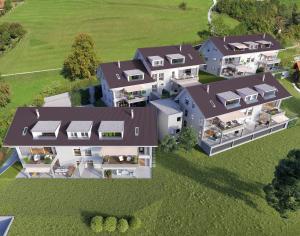 Vogelperspektive 3D-Rendering Mehrfamilienhäuser Riggisberg