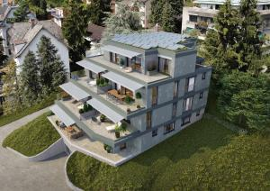 Vogelperspektive 3D-Visualisierung modernes MFH in Hoengg