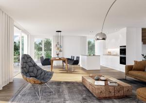 3D Visualisierung Rendering Wohnung mit Küche MFH in Ebmatingen