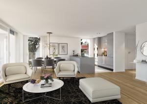 Wohnzimmer Küche Visualisierungen Innenraum MFH Hoengg