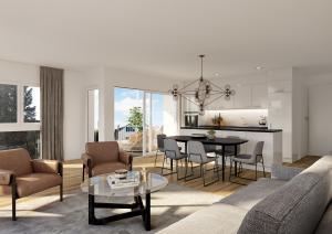 Realistische Visualisierung Wohnzimmer Küche Neubau MFH in Wallbach