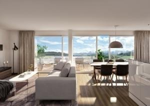 Innenraum Visualisierung Wohnzimmer Neubau Wohnungen Riggisberg