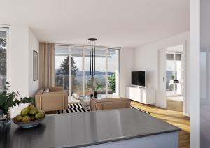 Wohnzimmer Visualisierung Neubau MFH in Hoengg Zürich