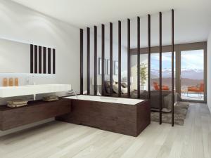 Visualisierung Schlafzimmer mit offenem Badezimmer