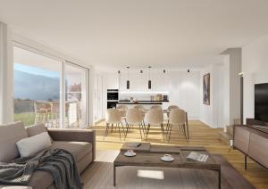 3D Visualisierung Wohnzimmer und Küche
