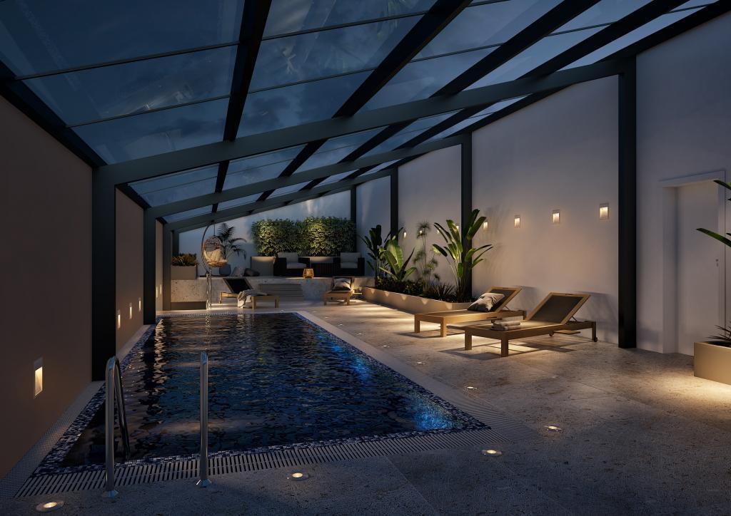 Visualisierung Swimming Pool mit Innenraum Beleuchtungen