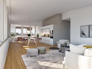 Visualisierung Innenraum Kueche Wohnzimmer